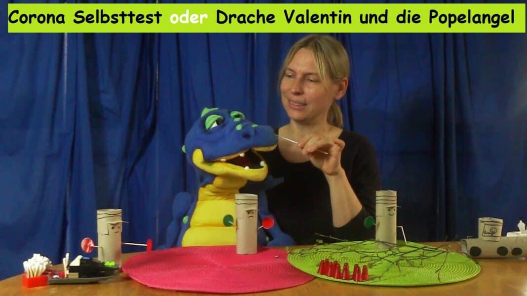 Corona Selbsttest mit Drache Valentin_